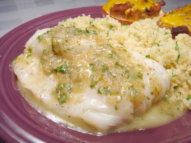 Grilled Fish  With Garlic, White Wine and Butter Sauce. Photo by Lori Mama