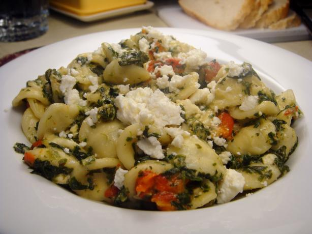 Orecchiette With Spinach, Roasted Red Pepper and Feta. Photo by Lori Mama