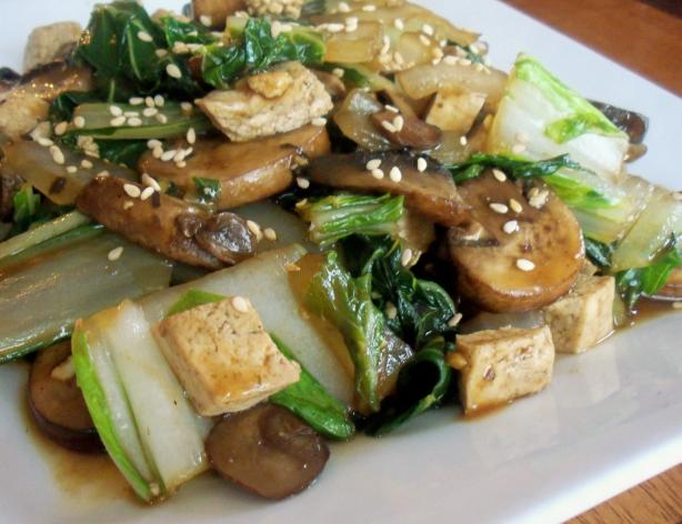 Stir-Fried Shitake Mushrooms With Tofu and Bok Choy. Photo by *Parsley*