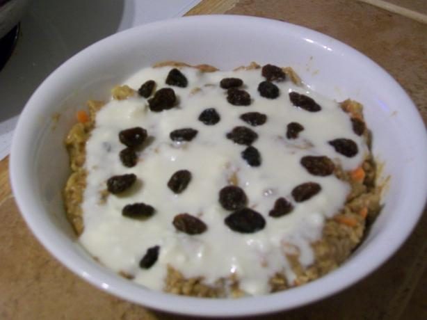 Carrot Cake Oatmeal With Cream Cheese Frosting. Photo by haven't the slightest