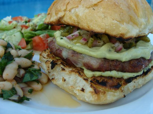 Grilled Turkey Burgers Wtih Monterey Jack, Poblano Pickle Relish. Photo by SloppyJoe