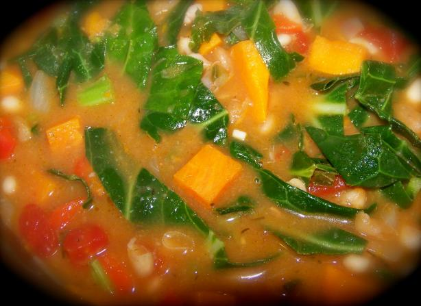 Spicy White Bean and Sweet Potato Stew With Greens. Photo by Prose