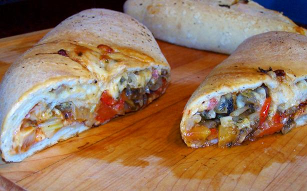 Stromboli With Prosciutto, Peppers, Onions, Garlic & Shrooms. Photo by Rita~