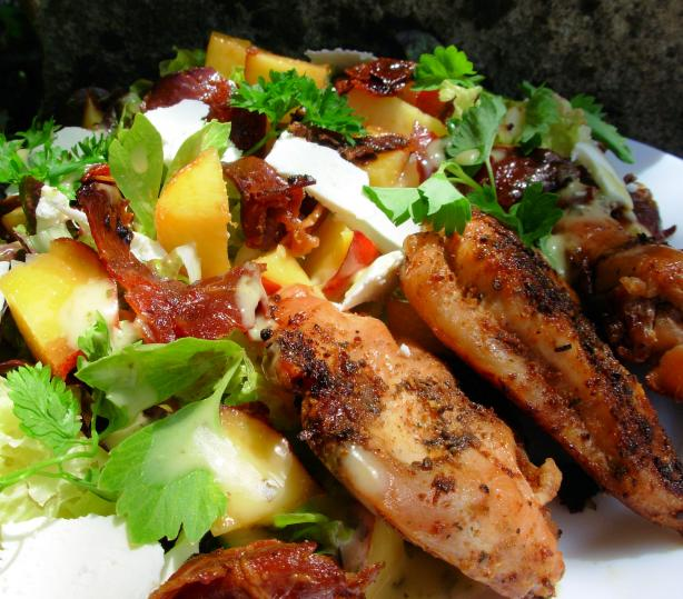 Lemon and Herb Chicken With Peach and Prosciutto Salad. Photo by French Tart