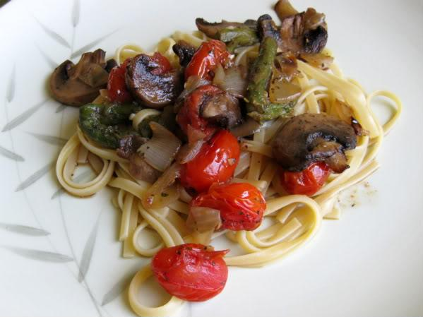 Roasted Vegetable Linguine With Torn Fresh Basil. Photo by danakscully64