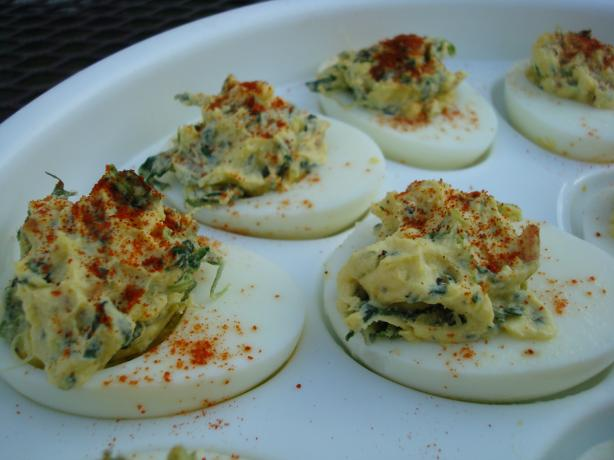 Spinach-Bacon Deviled Eggs. Photo by Starrynews