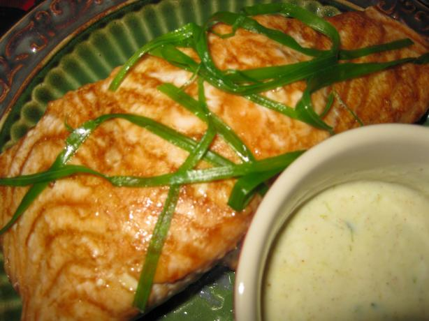 Baked Salmon With Green Onion Garnish. Photo by threeovens