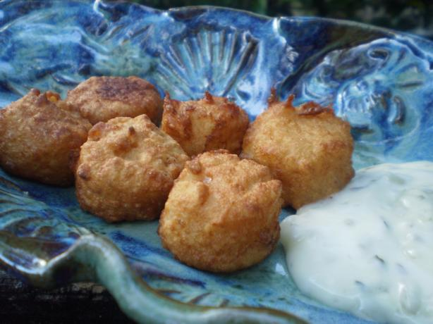 Battered Queenies With Tartar Sauce (Manx Scallops). Photo by breezermom