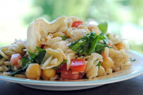 Greek Orzo Salad With Chickpeas & Artichoke Hearts. Photo by Andi of Longmeadow Farm