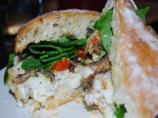 Parmesan Crusted Fish &amp; Portobello Ciabatta Sandwich