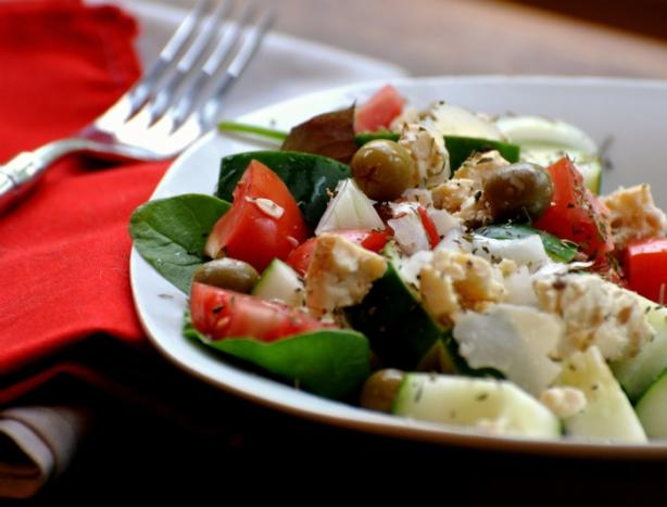 Greek Salad W/Feta and Olives. Photo by Andi of Longmeadow Farm