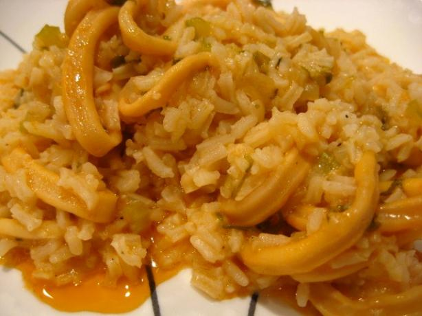 Kalamaria Pilafi ( Squid Pilaf). Photo by Papa D 1946-2012