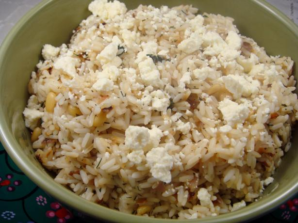 Greek Lemon and Dill Rice With Feta (Rice Cooker). Photo by Lori Mama