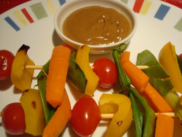 Thai-Style Veggie Kabobs With Spicy Peanut Sauce. Photo by Starrynews