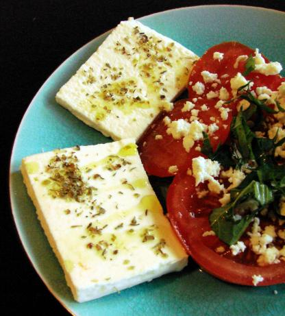 Sliced Feta With Oregano and Olive oil. Photo by Boomette