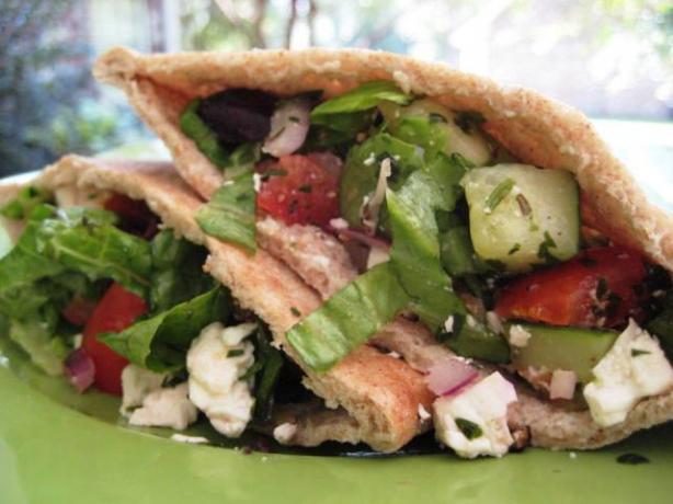 Greek Salad Pita Sandwich. Photo by gailanng