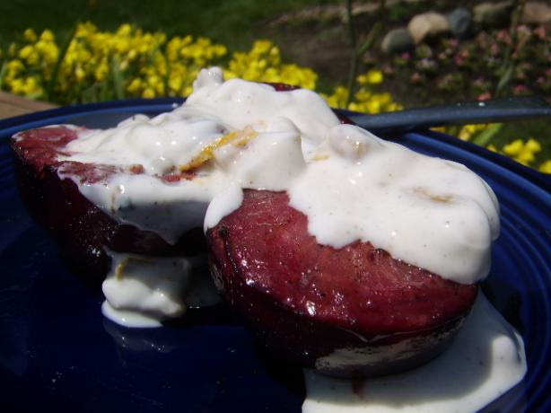 Grilled Plums With Spiced Walnut Yogurt Sauce. Photo by LifeIsGood