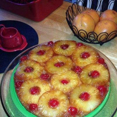 Pineapple Upside-Down Cake in Iron Skillet. Photo by katie in the UP
