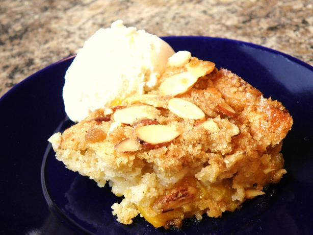 Cracker Barrel Peach Cobbler With Almond Crumble Topping. Photo by Mommy2FourSuperKidz