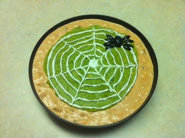 Spider Web Dip with Spooky Tortilla Chips (optional). Photo by Chef #1348059