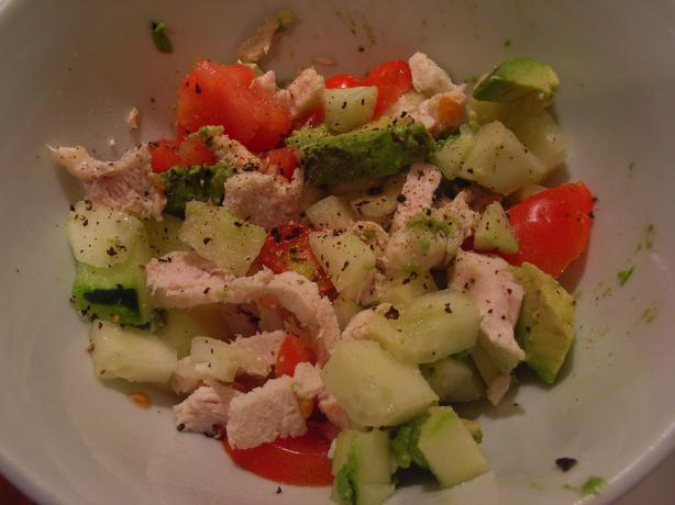 Chicken, Potato and Avocado salad. Photo by katew
