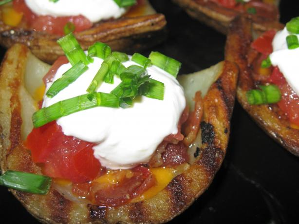 Paula Deen's Grilled Potato Skins. Photo by threeovens