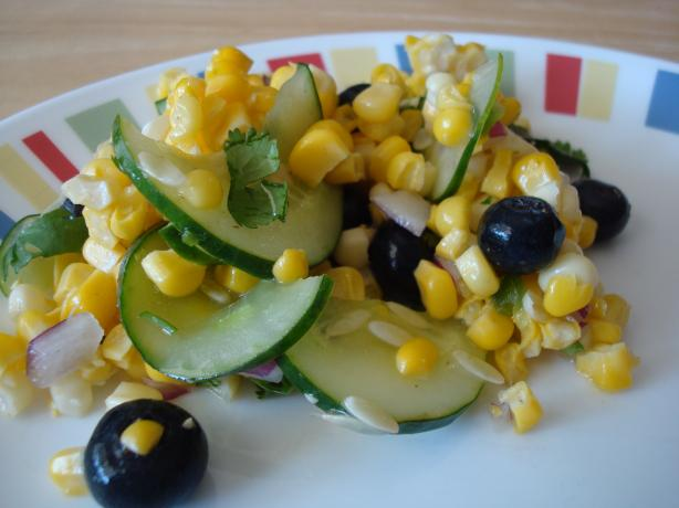 Corn & Blueberry Salad. Photo by Starrynews