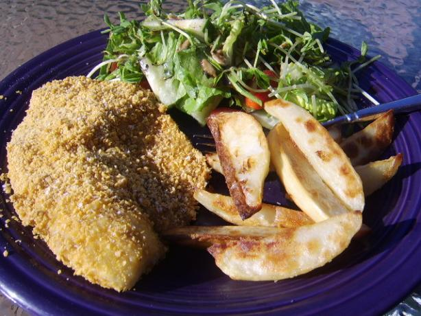 Crumbed Fish With Wedges. Photo by LifeIsGood
