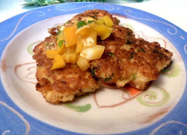 Shrimp Corn Cakes With Citrus Chile Salsa. Photo by momaphet