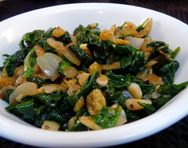 Spinach Sauteed With Raisins and Pine Nuts. Photo by PaulaG