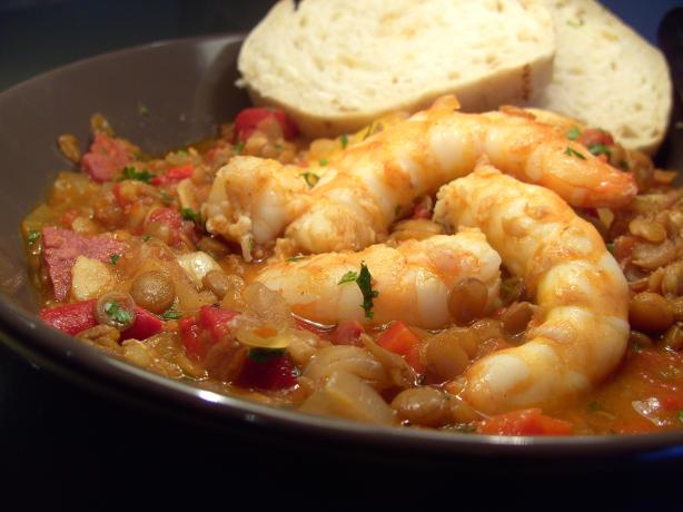 Spanish Prawns With Spicy Lentils. Photo by JustJanS