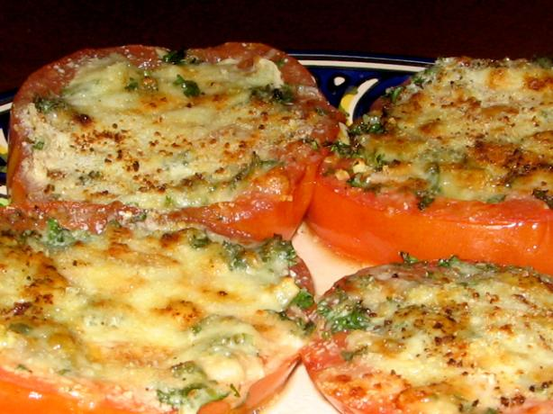 Mom's Broiled Parmesan Tomatoes. Photo by Spice Guru