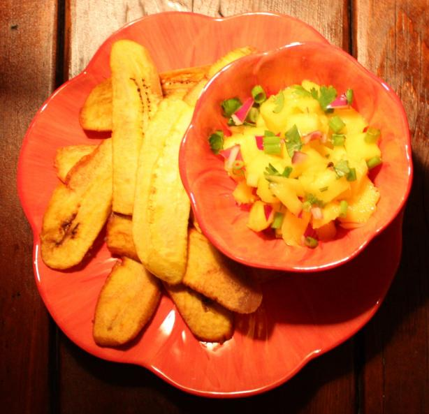 Plantain Chips With Mango Salsa. Photo by Sommer Clary