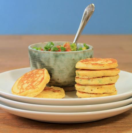 Jalapeno Corn Cakes With Avocado Salsa. Photo by spicyperspective