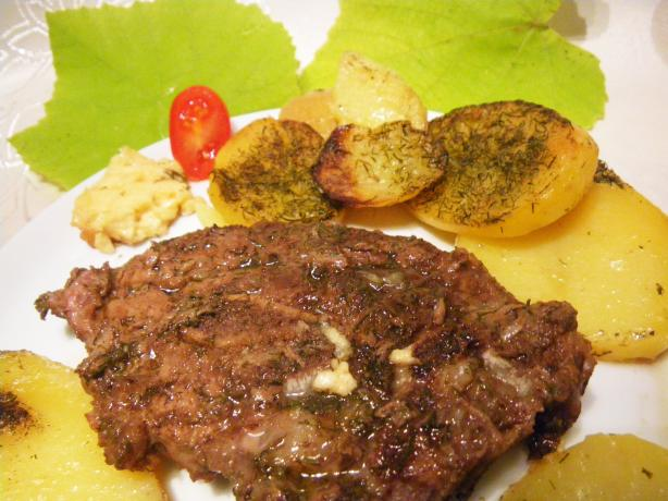 Mastelo (Lamb in Oven With Wine and Dill) With Potatoes. Photo by awalde