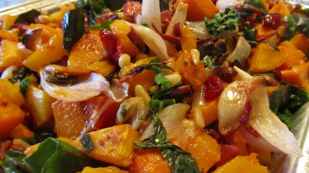 Roasted Butternut Squash, With Swiss Chard or Spinach. Photo by Rita~