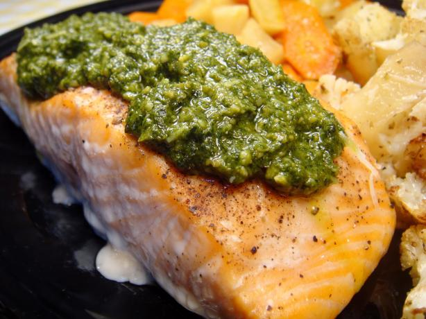 Pan Seared Salmon With Lemon Basil Pesto. Photo by Lori Mama