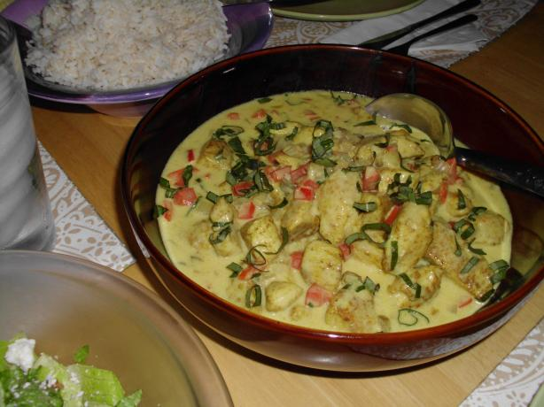 Thai Basil Chicken in Coconut-Curry Sauce. Photo by vivmom