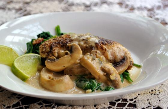 Chicken Breasts With Mushroom Cream Sauce. Photo by Andi of Longmeadow Farm