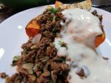 Butternut Squash With Lebanese Spiced Ground Beef and Garlic Yog