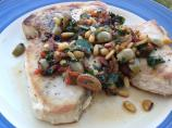 Swordfish With Olive, Pine Nut, and Parsley Relish