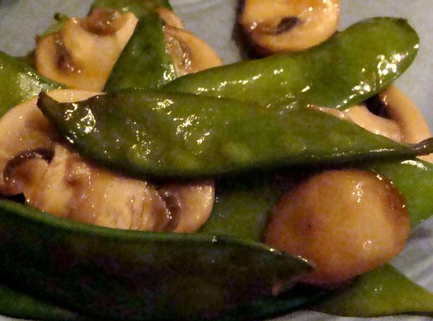 Teriyaki Snow Peas and Mushrooms. Photo by Lvs2Cook