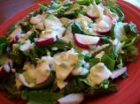 Greens, Cukes, and Radish Salad With Creamy Dressing