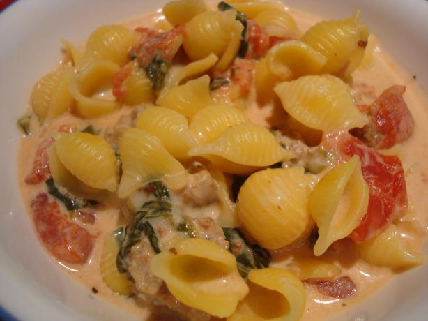 Pasta and Sausage in Tomato Cream Sauce. Photo by Starrynews