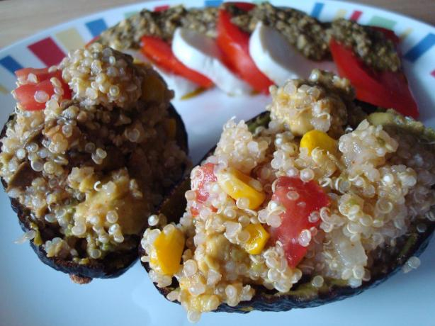 Avocados Stuffed With Quinoa, Corn and Tomato. Photo by Starrynews