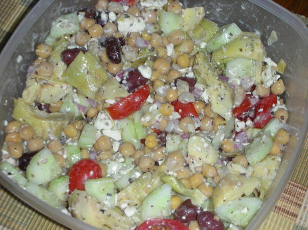 Greek Garbanzo Bean Salad. Photo by JackieOhNo!