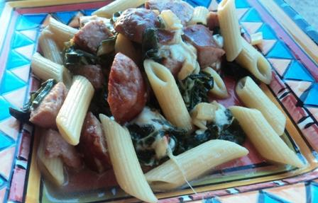 Pasta With Kielbasa and Swiss Chard. Photo by BakinBaby
