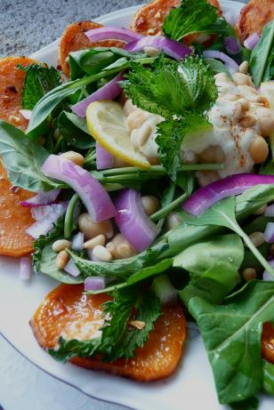 Persian Inspired Salad With Sweet Potato and Spinach. Photo by Cookgirl