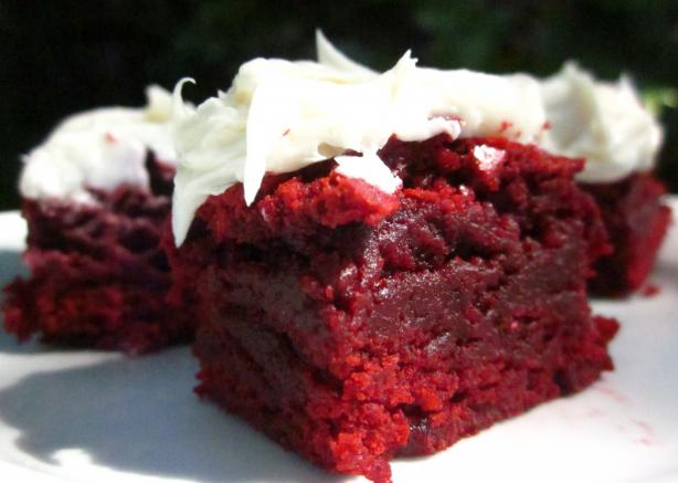 The Realtor's Red Velvet Brownies With White Chocolate Icing. Photo by gailanng