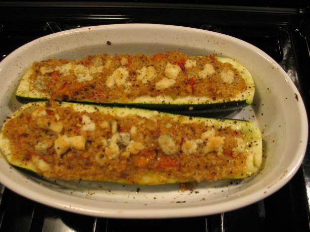 Quinoa Stuffed Zucchini Boats. Photo by Chicagoland Chef du Jour